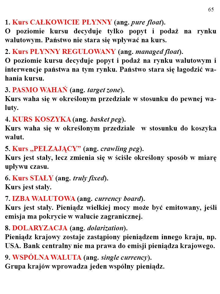 64 1. Kurs CAŁKOWICIE PŁYNNY (ang. pure float).