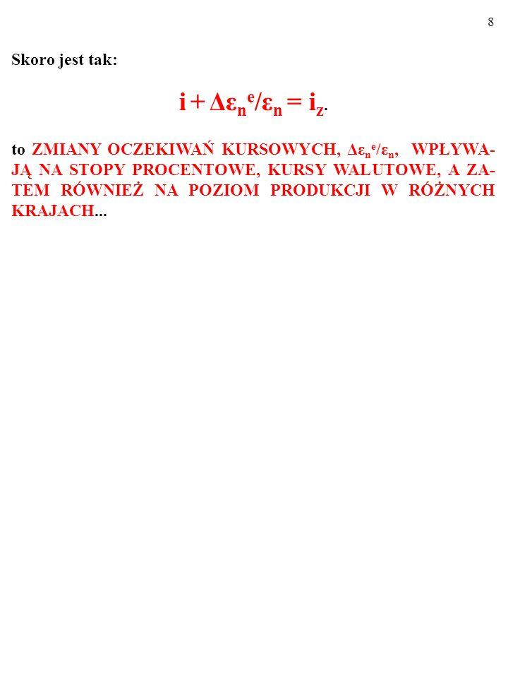 7 W takiej sytuacji, zgodnie z równaniem: i F +Δε n e /ε n =i H, mobilność kapitału doprowadzi do osiągnięcia przez stopę procen- tową w Fantazji, i=i F, poziomu: i F = i H -Δε n e /ε n = 30%-(ε n e -ε n )/ε n = 30%-0,2[gb/jl]/1[gb/jl]= 30%-20% = 10%.