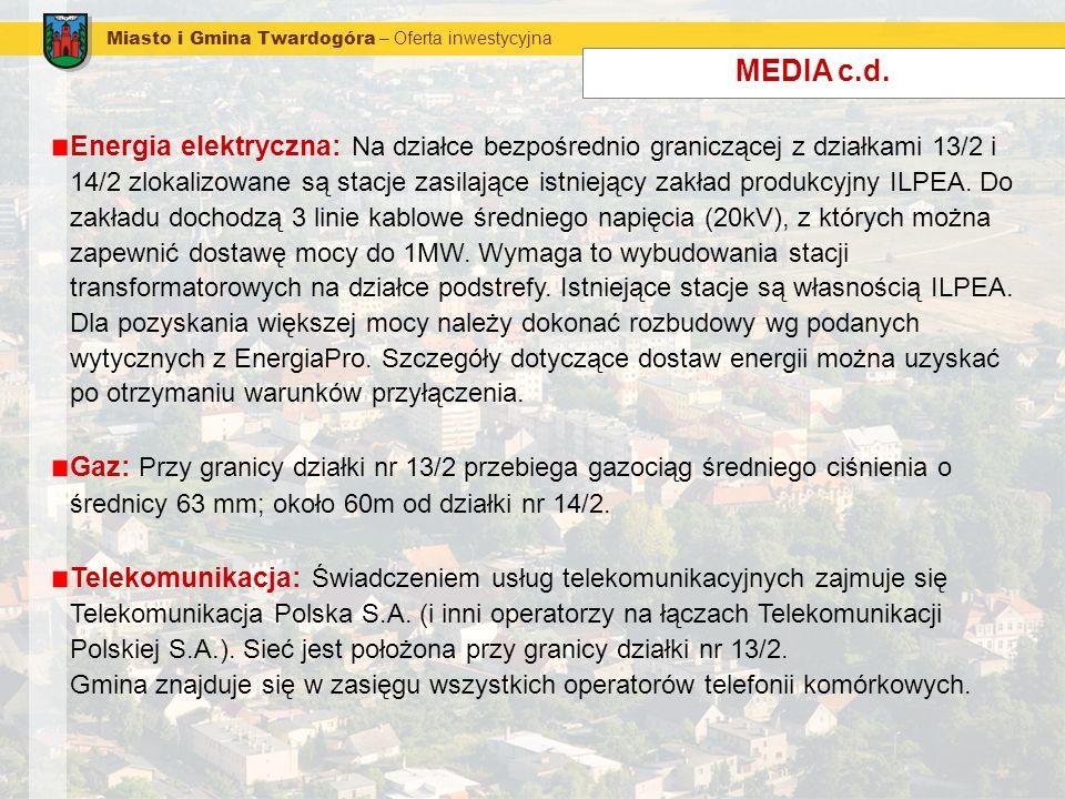 Miasto i Gmina Twardogóra – Oferta inwestycyjna MEDIA c.d. Energia elektryczna: Na działce bezpośrednio graniczącej z działkami 13/2 i 14/2 zlokalizow