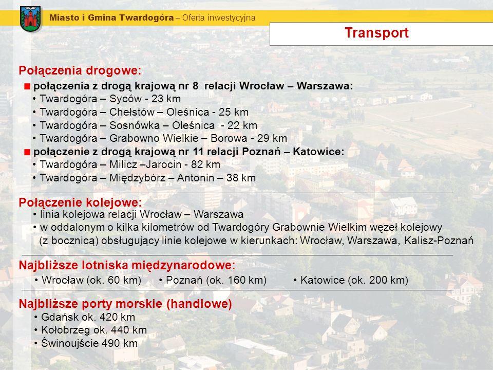 Miasto i Gmina Twardogóra – Oferta inwestycyjna Transport Połączenia drogowe: połączenia z drogą krajową nr 8 relacji Wrocław – Warszawa: Twardogóra –