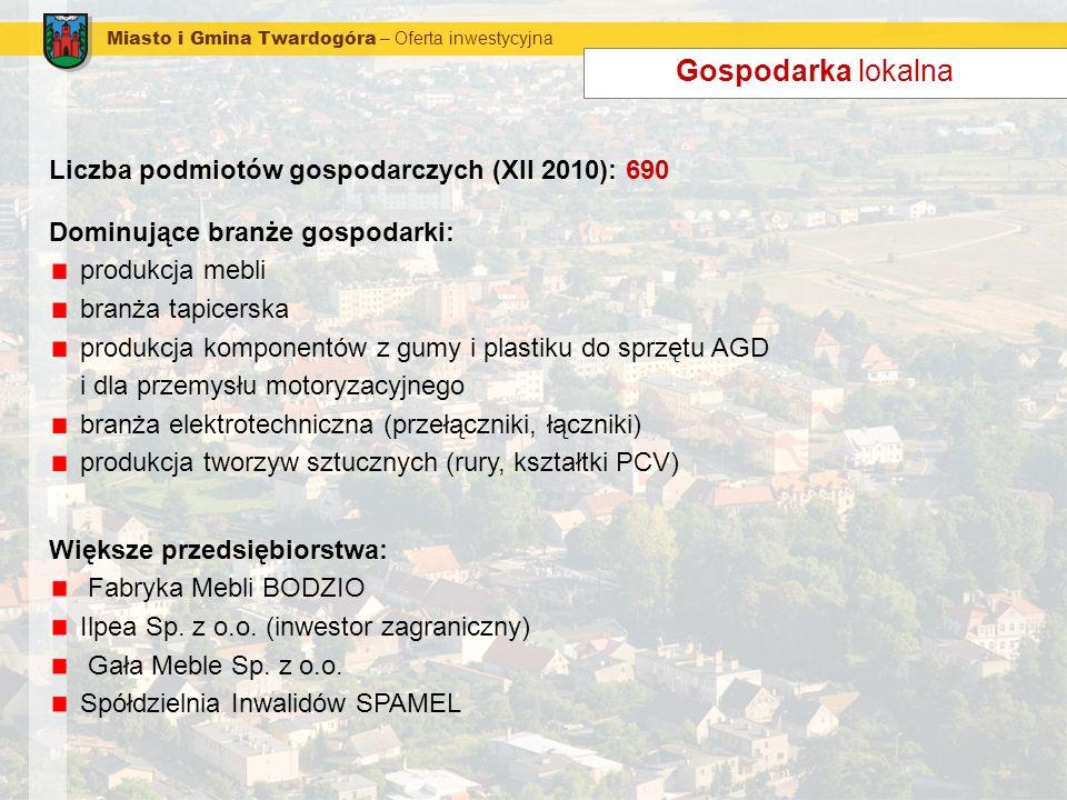 Miasto i Gmina Twardogóra – Oferta inwestycyjna Gospodarka lokalna Liczba podmiotów gospodarczych (XII 2010): 690 Dominujące branże gospodarki: produk