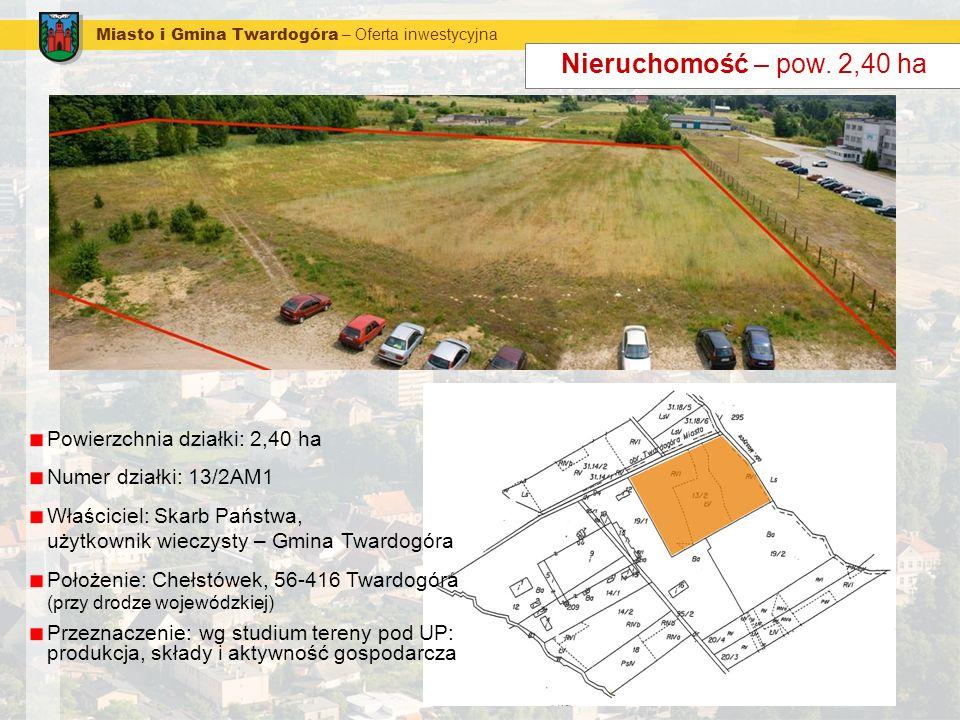 Miasto i Gmina Twardogóra – Oferta inwestycyjna Nieruchomość – pow. 2,40 ha Powierzchnia działki: 2,40 ha Numer działki: 13/2AM1 Właściciel: Skarb Pań