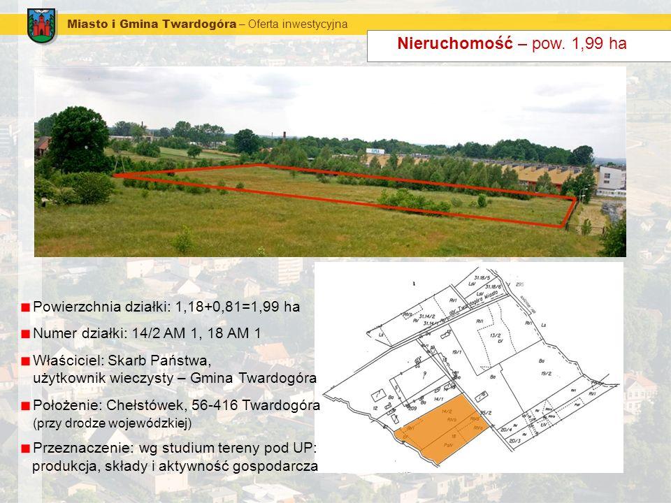 Miasto i Gmina Twardogóra – Oferta inwestycyjna Nieruchomość – pow. 1,99 ha Powierzchnia działki: 1,18+0,81=1,99 ha Numer działki: 14/2 AM 1, 18 AM 1