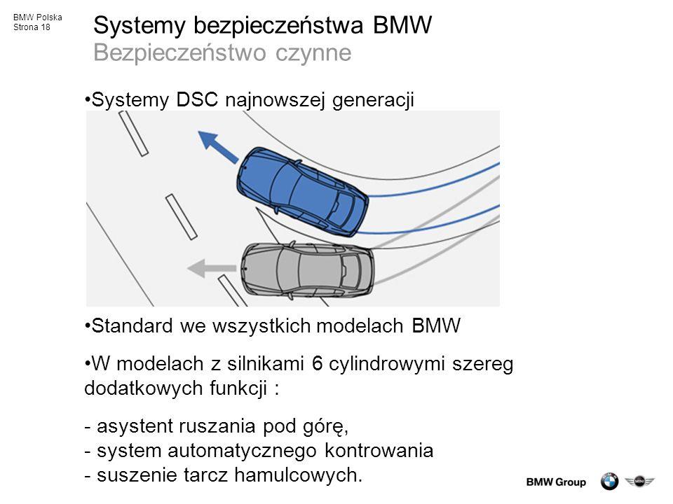 BMW Polska Strona 18 Systemy bezpieczeństwa BMW Bezpieczeństwo czynne Systemy DSC najnowszej generacji Standard we wszystkich modelach BMW W modelach