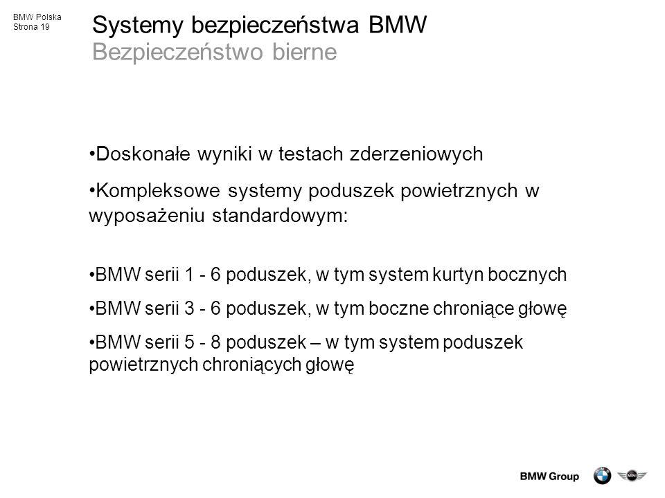 BMW Polska Strona 19 Systemy bezpieczeństwa BMW Bezpieczeństwo bierne Doskonałe wyniki w testach zderzeniowych Kompleksowe systemy poduszek powietrzny