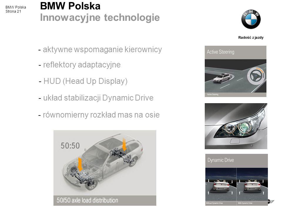 BMW Polska Strona 21 BMW Polska Innowacyjne technologie - aktywne wspomaganie kierownicy - reflektory adaptacyjne - HUD (Head Up Display) - równomiern