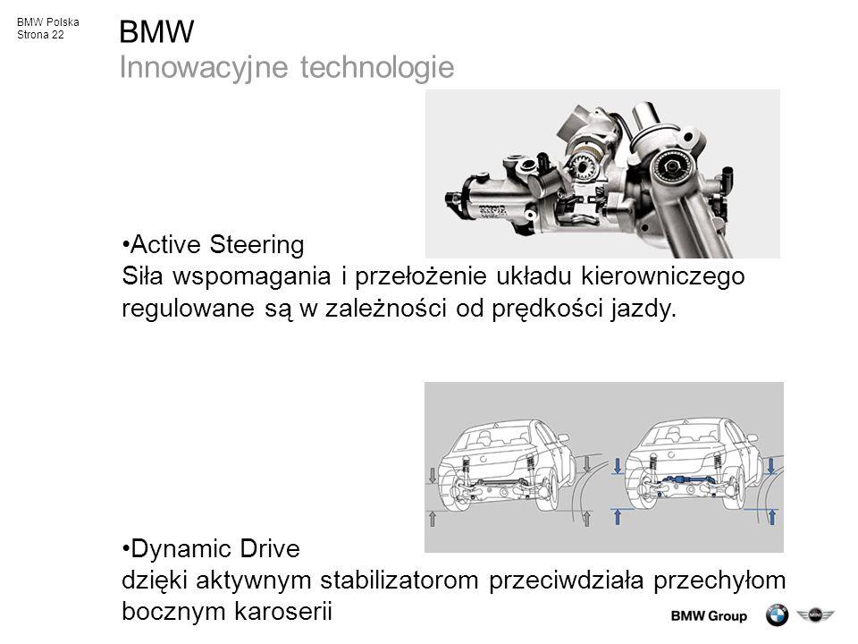 BMW Polska Strona 22 BMW Innowacyjne technologie Active Steering Siła wspomagania i przełożenie układu kierowniczego regulowane są w zależności od prę