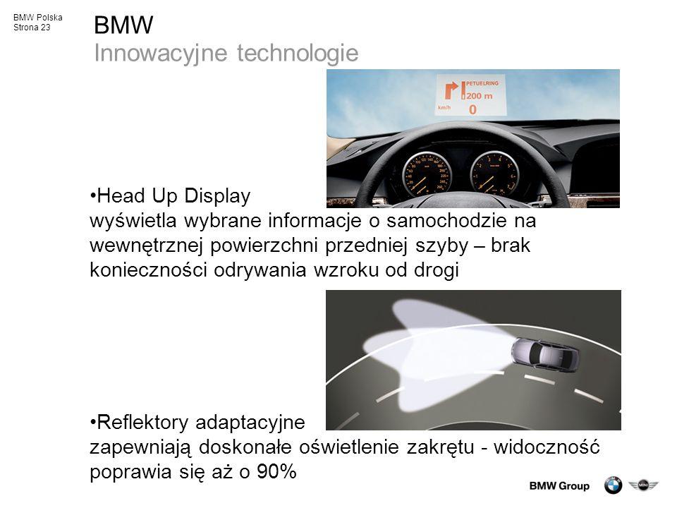 BMW Polska Strona 23 BMW Innowacyjne technologie Head Up Display wyświetla wybrane informacje o samochodzie na wewnętrznej powierzchni przedniej szyby