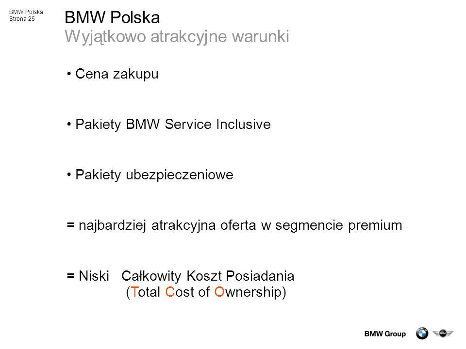 BMW Polska Strona 25 BMW Polska Wyjątkowo atrakcyjne warunki Cena zakupu Pakiety BMW Service Inclusive Pakiety ubezpieczeniowe = najbardziej atrakcyjn