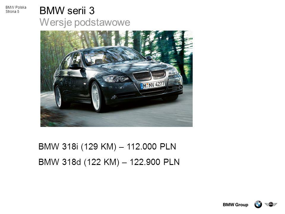 BMW Polska Strona 5 BMW serii 3 Wersje podstawowe BMW 318i (129 KM) – 112.000 PLN BMW 318d (122 KM) – 122.900 PLN