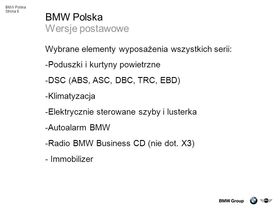 BMW Polska Strona 19 Systemy bezpieczeństwa BMW Bezpieczeństwo bierne Doskonałe wyniki w testach zderzeniowych Kompleksowe systemy poduszek powietrznych w wyposażeniu standardowym: BMW serii 1 - 6 poduszek, w tym system kurtyn bocznych BMW serii 3 - 6 poduszek, w tym boczne chroniące głowę BMW serii 5 - 8 poduszek – w tym system poduszek powietrznych chroniących głowę