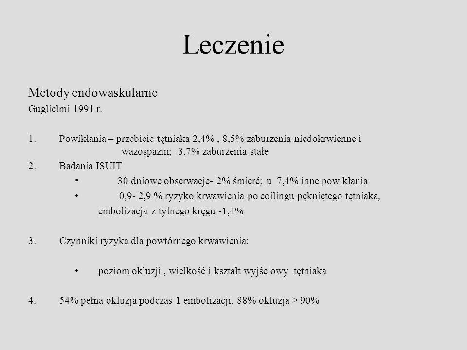 Leczenie Metody endowaskularne Guglielmi 1991 r. 1.Powikłania – przebicie tętniaka 2,4%, 8,5% zaburzenia niedokrwienne i wazospazm; 3,7% zaburzenia st