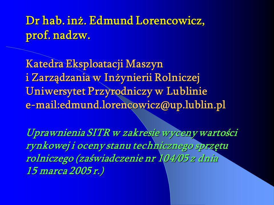 Dr hab. inż. Edmund Lorencowicz, prof. nadzw. Katedra Eksploatacji Maszyn i Zarządzania w Inżynierii Rolniczej Uniwersytet Przyrodniczy w Lublinie e-m