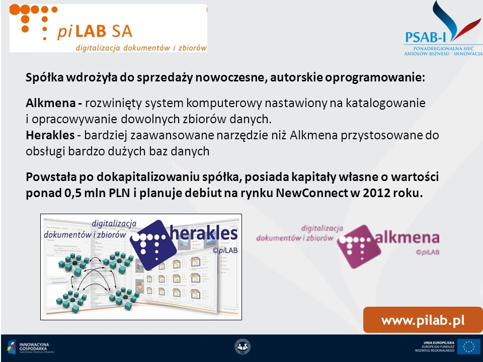 www.pilab.pl Spółka wdrożyła do sprzedaży nowoczesne, autorskie oprogramowanie: Alkmena - rozwinięty system komputerowy nastawiony na katalogowanie i