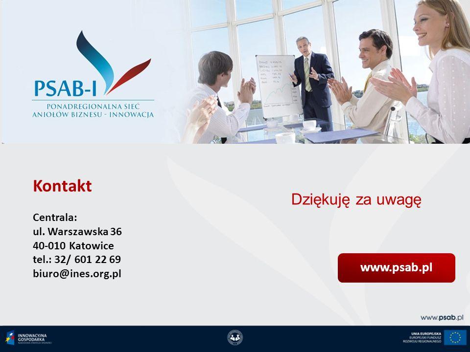www.psab.pl Dziękuję za uwagę Kontakt Centrala: ul. Warszawska 36 40-010 Katowice tel.: 32/ 601 22 69 biuro@ines.org.pl