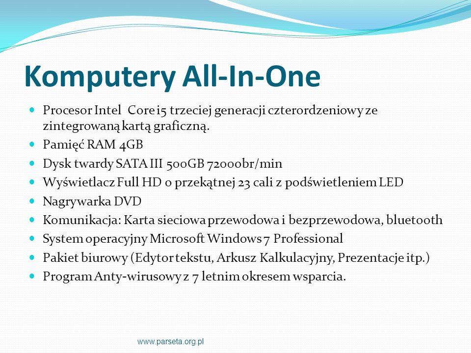 Komputery All-In-One Procesor Intel Core i5 trzeciej generacji czterordzeniowy ze zintegrowaną kartą graficzną.