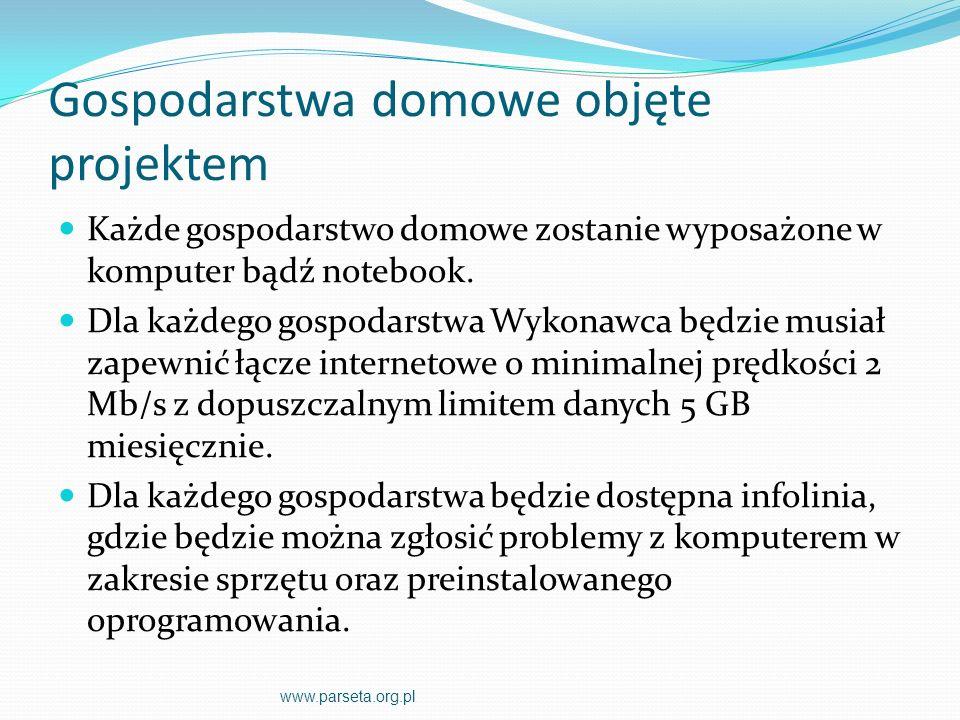 Punkty koordynujące walkę z wykluczeniem cyfrowym PKWZWC nie mogą służyć jako sale lekcyjne PKWZWC muszą być dostępne przede wszystkim dla osób z grup docelowych Osoby opiekujące się PKWZWC będą zobowiązane wypełniać ankietę o wykorzystaniu komputerów na portalu projektu Koszty eksploatacyjne PKWZWC muszą być finansowane przez Gminę www.parseta.org.pl