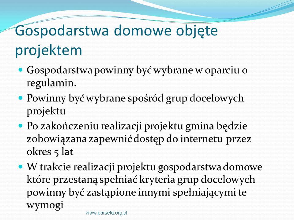 Przeciwdziałanie wykluczeniu cyfrowemu na terenie gmin zrzeszonych w Związku Miast i Gmin Dorzecza Parsęty Proponowany sprzęt komputerowy www.parseta.org.pl