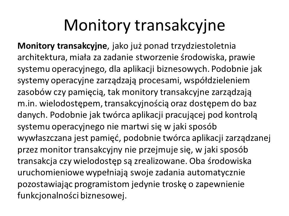 Monitory transakcyjne Monitory transakcyjne, jako już ponad trzydziestoletnia architektura, miała za zadanie stworzenie środowiska, prawie systemu operacyjnego, dla aplikacji biznesowych.
