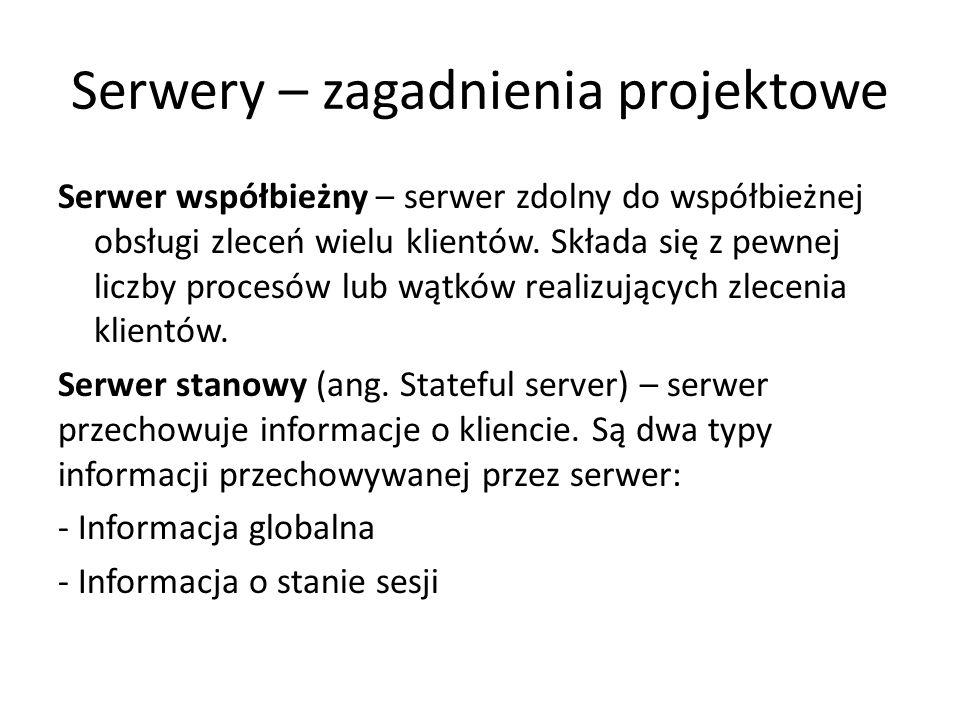 Serwery – zagadnienia projektowe Serwer współbieżny – serwer zdolny do współbieżnej obsługi zleceń wielu klientów.
