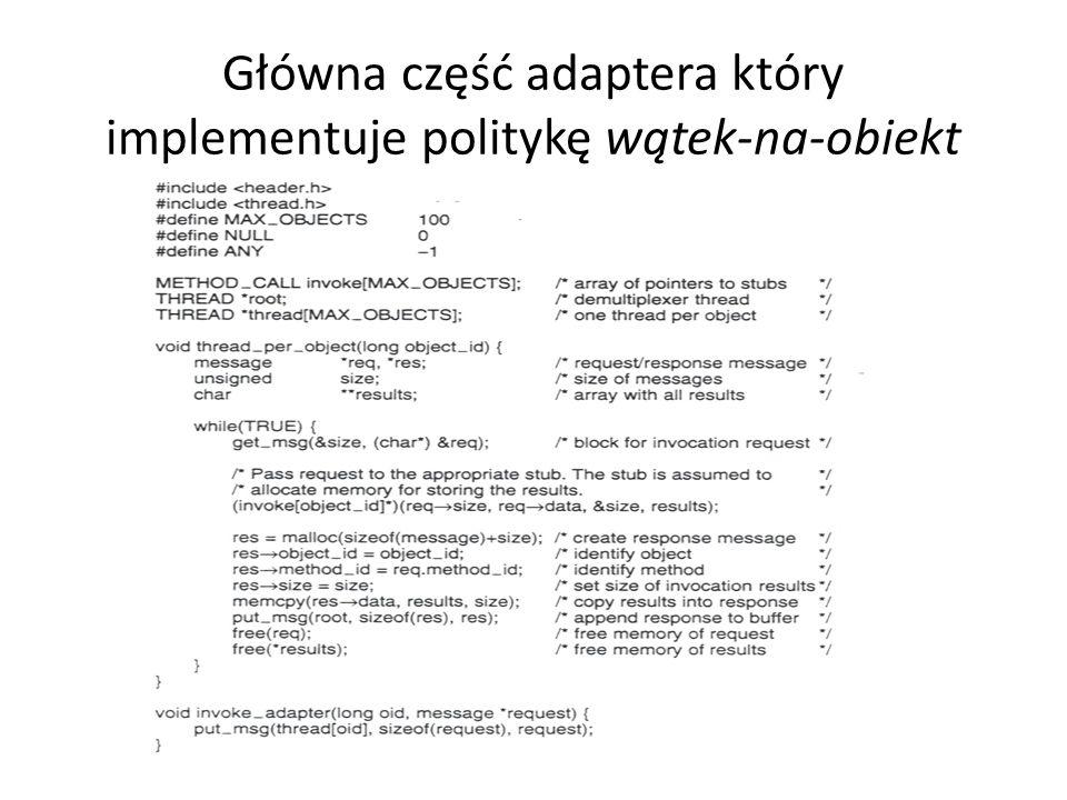 Główna część adaptera który implementuje politykę wątek-na-obiekt