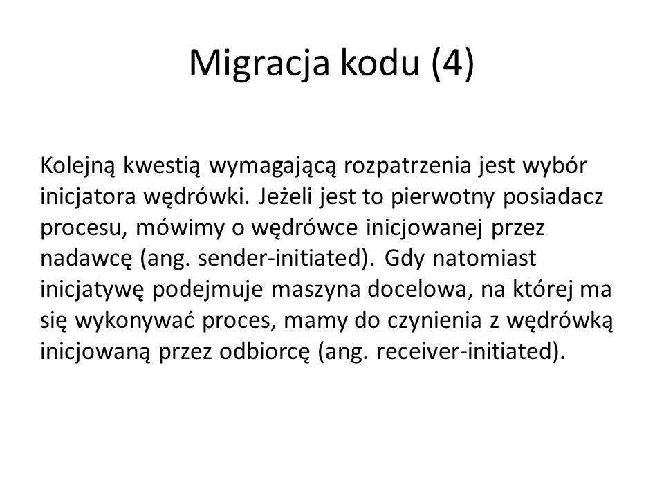 Migracja kodu (4) Kolejną kwestią wymagającą rozpatrzenia jest wybór inicjatora wędrówki.