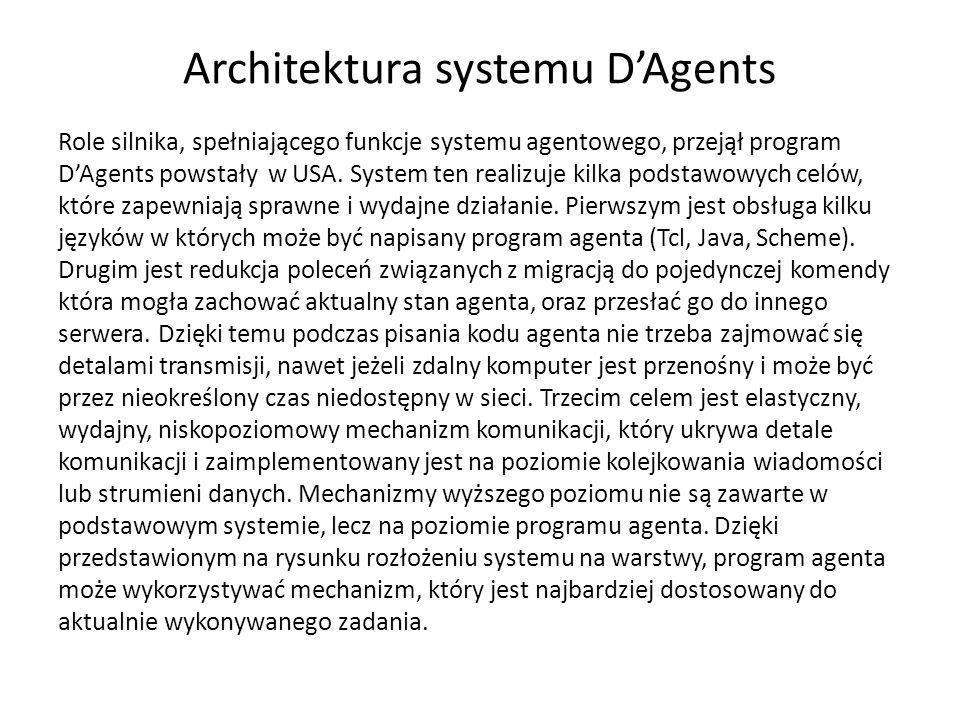 Architektura systemu DAgents Role silnika, spełniającego funkcje systemu agentowego, przejął program DAgents powstały w USA.