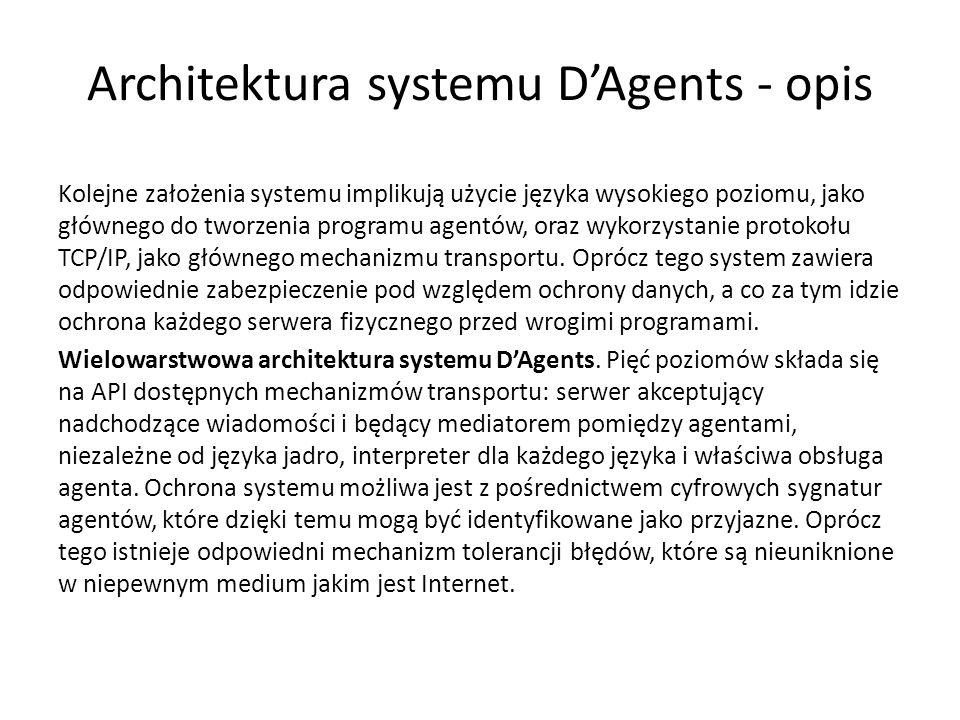 Architektura systemu DAgents - opis Kolejne założenia systemu implikują użycie języka wysokiego poziomu, jako głównego do tworzenia programu agentów, oraz wykorzystanie protokołu TCP/IP, jako głównego mechanizmu transportu.