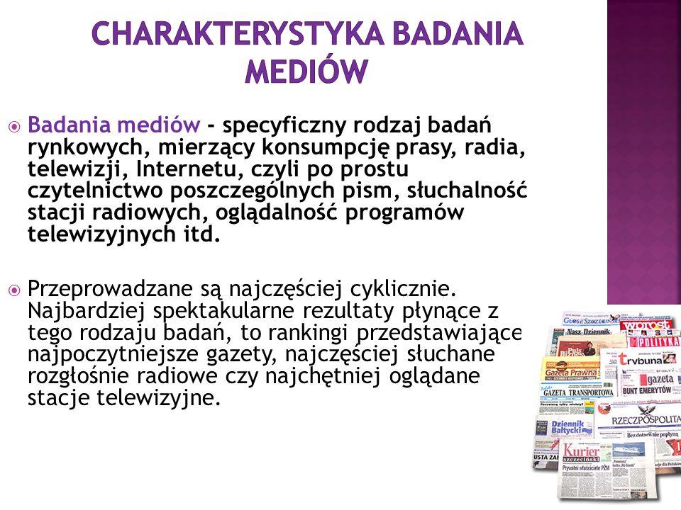 Badania mediów - specyficzny rodzaj badań rynkowych, mierzący konsumpcję prasy, radia, telewizji, Internetu, czyli po prostu czytelnictwo poszczególny