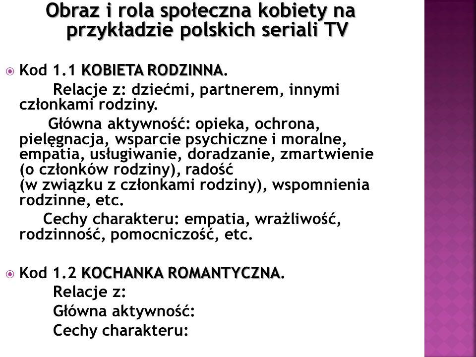 Obraz i rola społeczna kobiety na przykładzie polskich seriali TV KOBIETA RODZINNA Kod 1.1 KOBIETA RODZINNA. Relacje z: dziećmi, partnerem, innymi czł