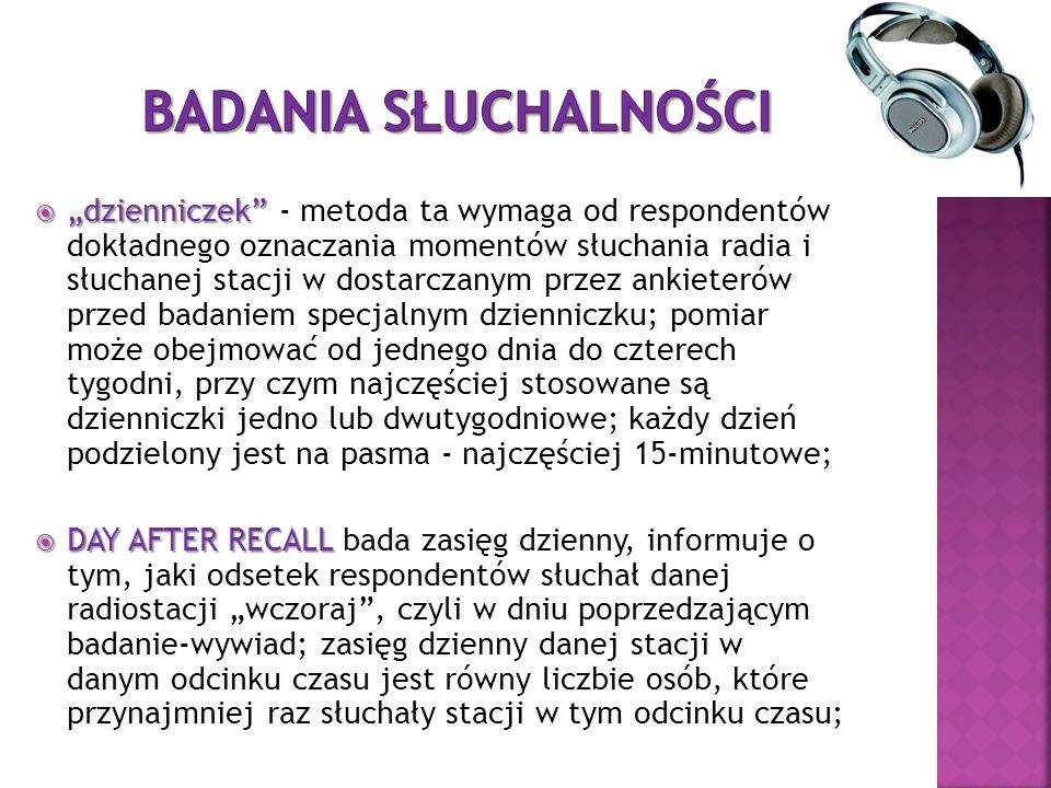 dzienniczek dzienniczek - metoda ta wymaga od respondentów dokładnego oznaczania momentów słuchania radia i słuchanej stacji w dostarczanym przez anki