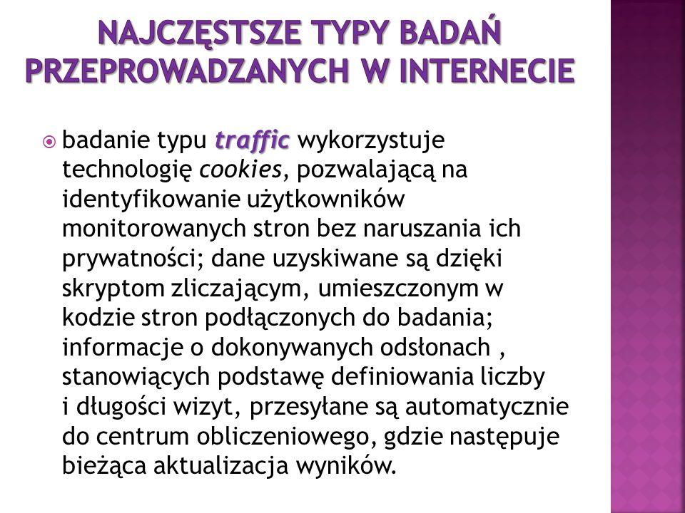 traffic badanie typu traffic wykorzystuje technologię cookies, pozwalającą na identyfikowanie użytkowników monitorowanych stron bez naruszania ich pry