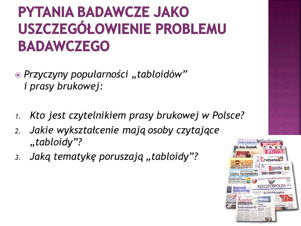 Przyczyny popularności tabloidów i prasy brukowej: 1. Kto jest czytelnikiem prasy brukowej w Polsce? 2. Jakie wykształcenie mają osoby czytające tablo
