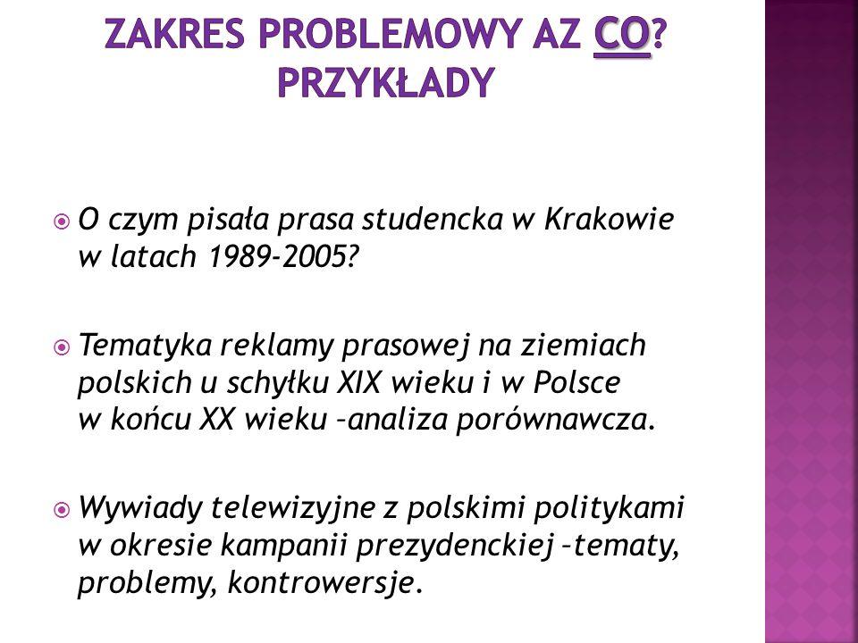 O czym pisała prasa studencka w Krakowie w latach 1989-2005? Tematyka reklamy prasowej na ziemiach polskich u schyłku XIX wieku i w Polsce w końcu XX