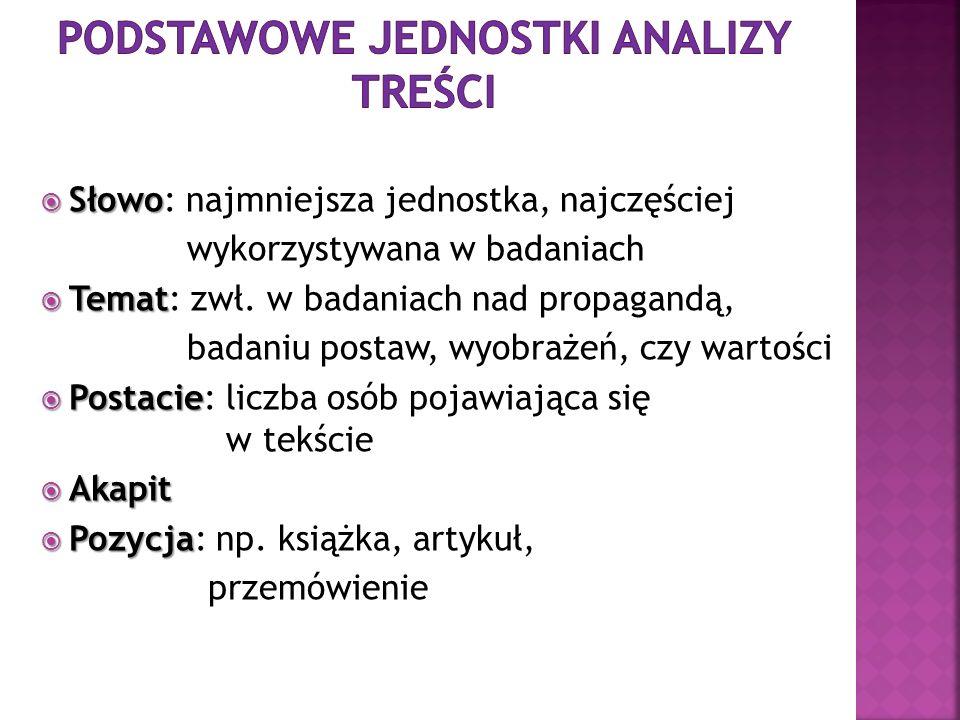 Słowo Słowo: najmniejsza jednostka, najczęściej wykorzystywana w badaniach Temat Temat: zwł. w badaniach nad propagandą, badaniu postaw, wyobrażeń, cz