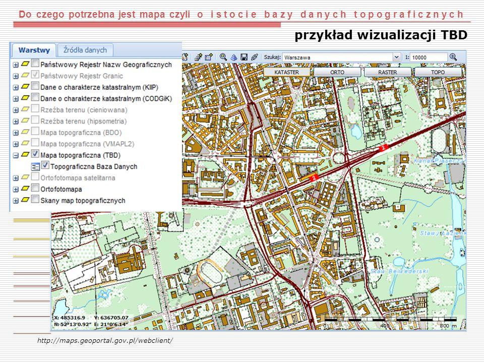 Do czego potrzebna jest mapa czyli o i s t o c i e b a z y d a n y c h t o p o g r a f i c z n y c h http://maps.geoportal.gov.pl/webclient/ przykład