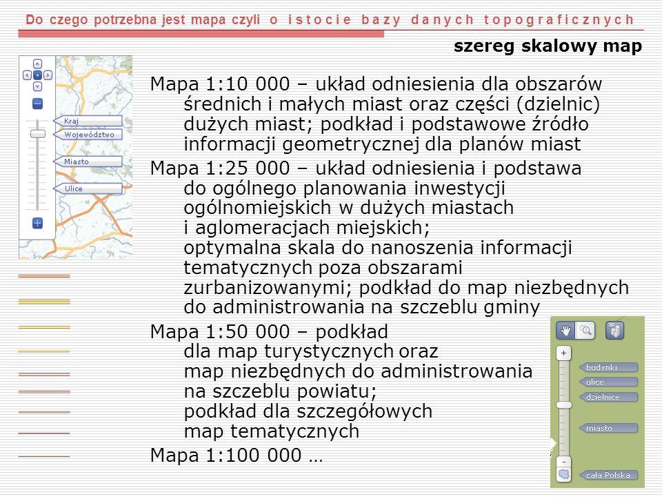 Do czego potrzebna jest mapa czyli o i s t o c i e b a z y d a n y c h t o p o g r a f i c z n y c h szereg skalowy map Mapa 1:10 000 – układ odniesie