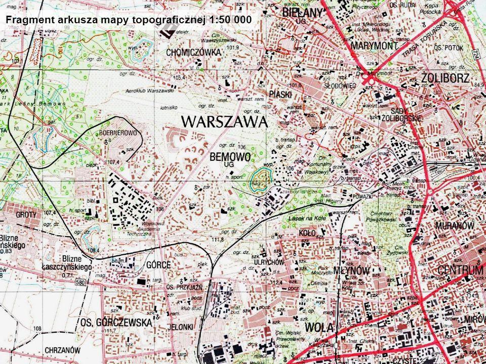 Do czego potrzebna jest mapa czyli o i s t o c i e b a z y d a n y c h t o p o g r a f i c z n y c h Fragment arkusza mapy topograficznej 1:50 000