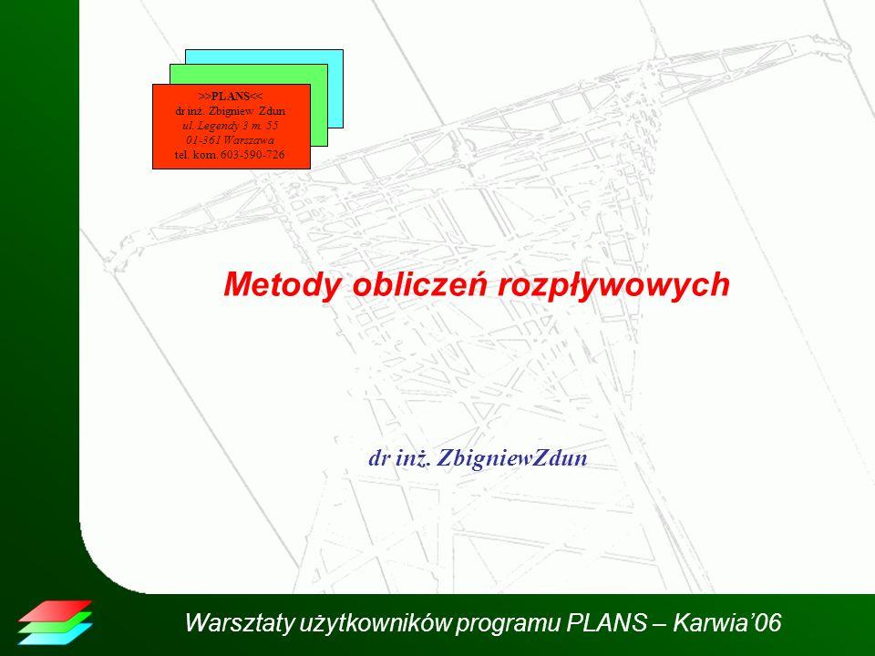 Warsztaty użytkowników programu PLANS – Karwia06 Metody obliczeń rozpływowych dr inż. ZbigniewZdun >>PLANS<< dr inż. Zbigniew Zdun ul. Legendy 3 m. 55