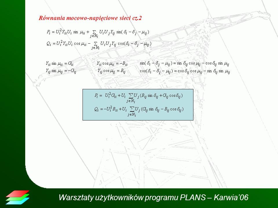 Warsztaty użytkowników programu PLANS – Karwia06 Równania mocowo-napięciowe sieci cz.2