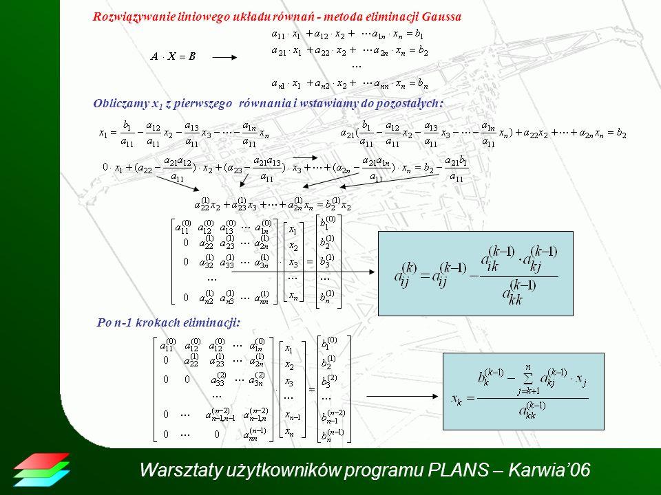 Rozwiązywanie liniowego układu równań - metoda eliminacji Gaussa Obliczamy x 1 z pierwszego równania i wstawiamy do pozostałych: Po n-1 krokach elimin