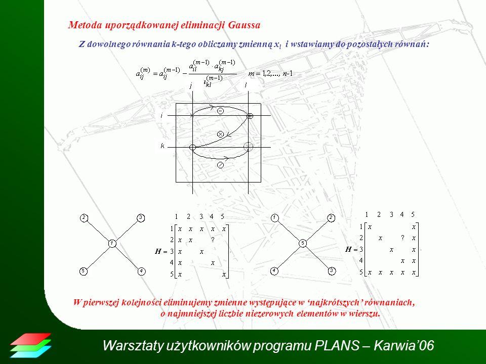Warsztaty użytkowników programu PLANS – Karwia06 Metoda uporządkowanej eliminacji Gaussa Z dowolnego równania k-tego obliczamy zmienną x l i wstawiamy