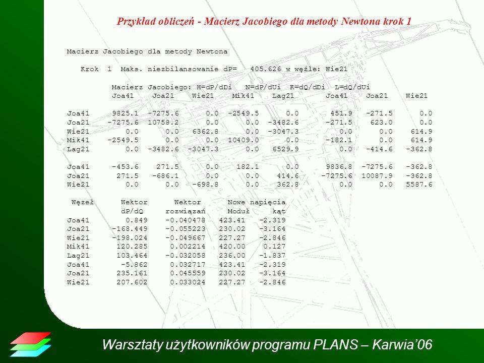 Warsztaty użytkowników programu PLANS – Karwia06 Przykład obliczeń - Macierz Jacobiego dla metody Newtona krok 1 Macierz Jacobiego dla metody Newtona