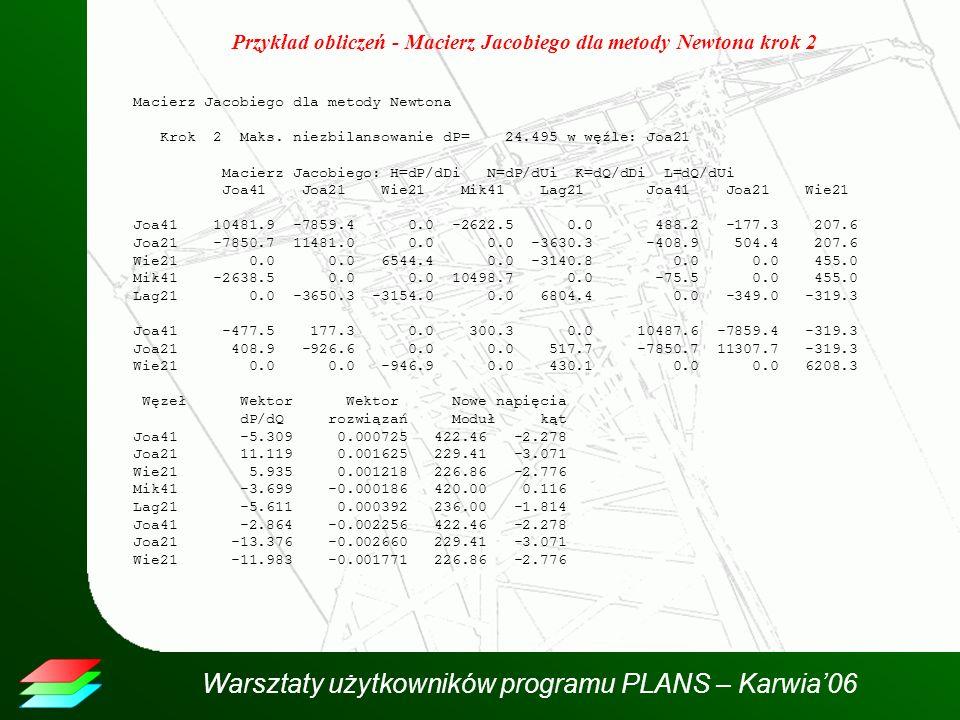 Warsztaty użytkowników programu PLANS – Karwia06 Przykład obliczeń - Macierz Jacobiego dla metody Newtona krok 2 Macierz Jacobiego dla metody Newtona