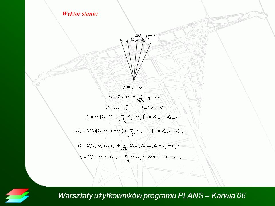 Warsztaty użytkowników programu PLANS – Karwia06 Przykład obliczeń - Macierz Jacobiego dla metody Newtona krok 2 Macierz Jacobiego dla metody Newtona Krok 2 Maks.