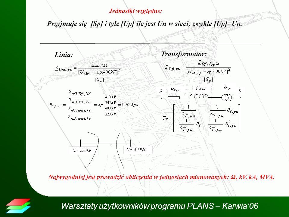 Warsztaty użytkowników programu PLANS – Karwia06 Jednostki względne: Przyjmuje się [Sp] i tyle [Up] ile jest Un w sieci; zwykle [Up]=Un. Linia: Transf