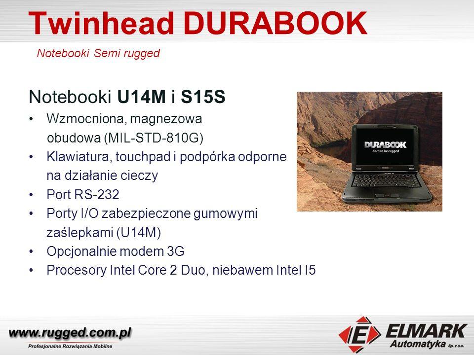 Twinhead DURABOOK Notebook S15C Wzmocniona, magnezowa obudowa (MIL-STD-810G) Klawiatura, touchpad i podpórka odporne na działanie cieczy Port RS-232 Opcjonalnie modem 3G / GPS Procesor Intel i5 2.53GHz Pamięć RAM 2GB rozszerzalna do 8GB Bateria 9-cell 6600mAh / 5h pracy Notebooki Semi rugged