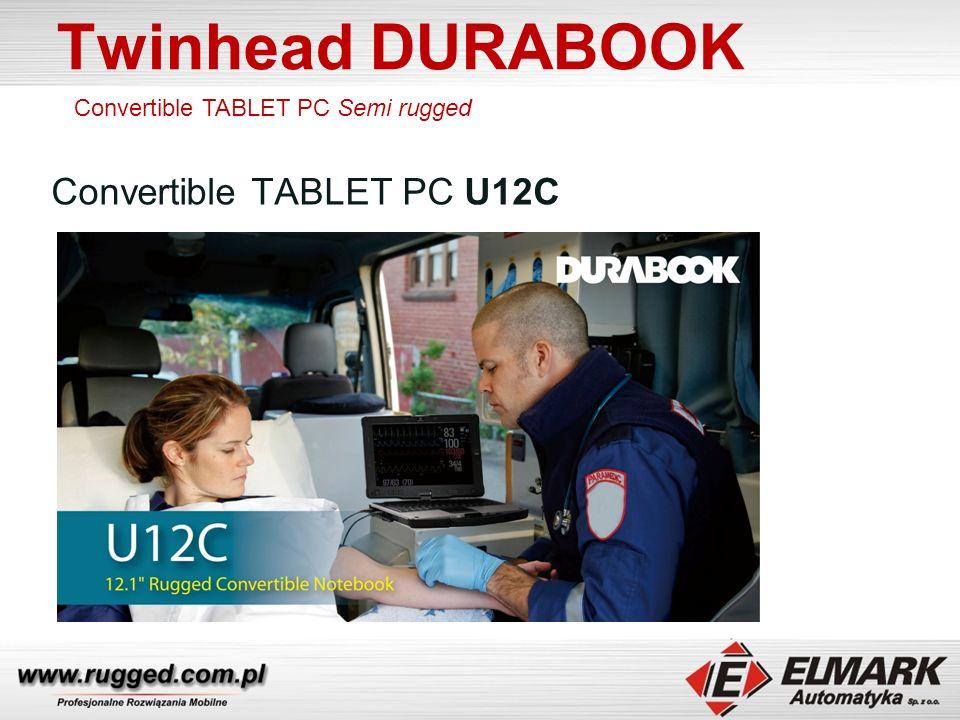 Twinhead DURABOOK Convertible TABLET PC U12C Obracany, składany, dotykowy ekran LCD 12.1 Wzmocniona, magnezowa obudowa (MIL-STD-810G) Klawiatura, touchpad i podpórka odporne na działanie cieczy Port RS-232 Porty I/O zabezpieczone gumowymi zaślepkami Opcjonalnie modem 3G/GPS/Ekran Sunlight Readable/Digitizer Procesor Intel I5 Convertible TABLET PC Semi rugged