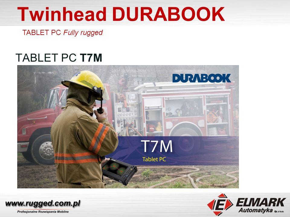 Twinhead DURABOOK TABLET PC T7M Podwójne baterie HOT SWAP 8h pracy Opcje: GPS, modem 3G, RFID, czytnik kodów 1D/2D Podświetlana klawiatura numeryczna Dotykowy ekran LCD 7 1024x600 LED w technologii Sunlight readable ( w opcji Digitizer ) Odporny na upadki, wstrząsy ( MIL-STD-810G ), Obudowa szczelna IP65 Temp.