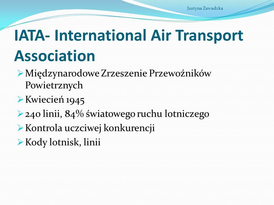 IATA- International Air Transport Association Międzynarodowe Zrzeszenie Przewoźników Powietrznych Kwiecień 1945 240 linii, 84% światowego ruchu lotnic